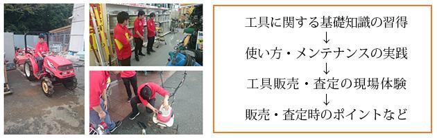 工具に関する基礎知識の習得→使い方・メンテナンスの実践→工具販売・査定の現場体験→販売・査定時のポイントなど